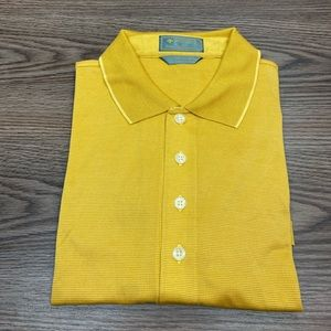 Descente Gold Check Golf Polo Shirt L